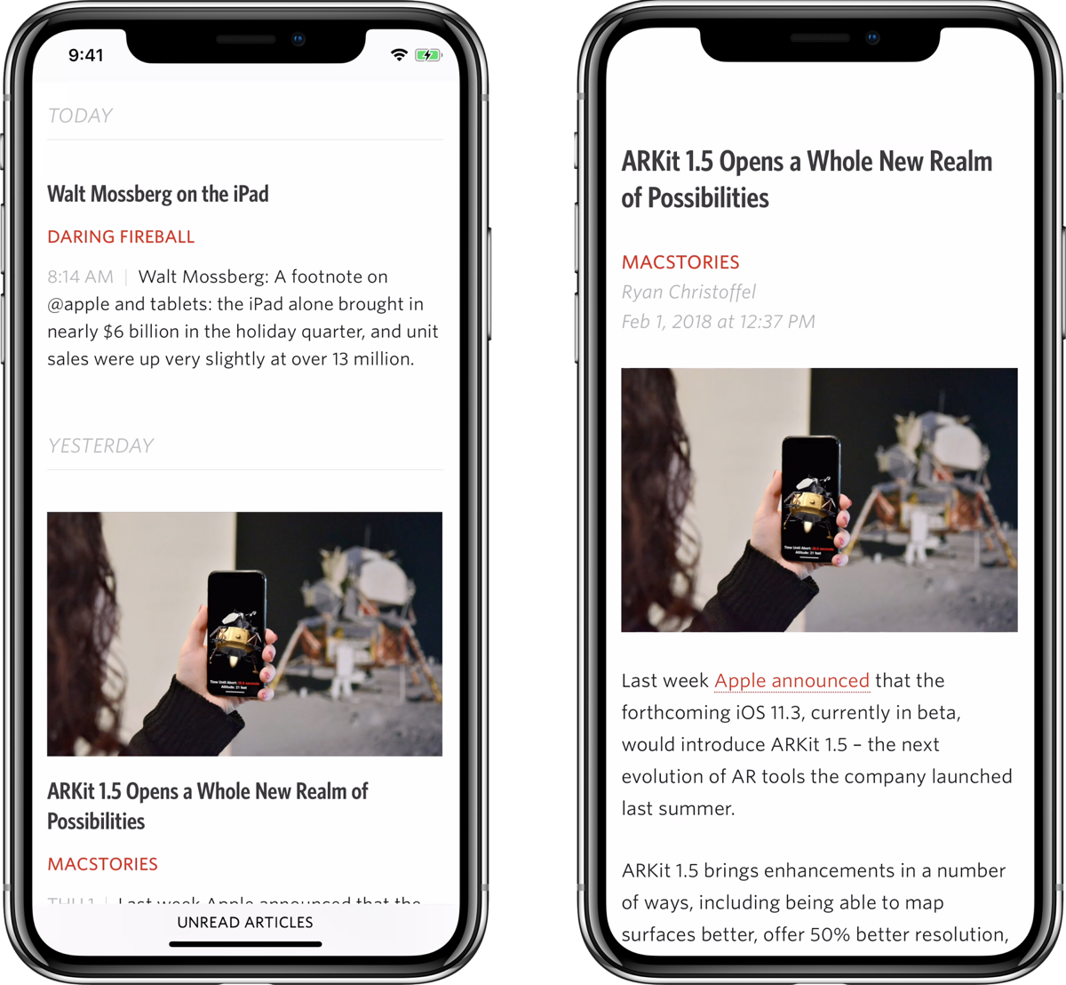 Unread 1 9 Adds a New Design for the iPhone X, Support for